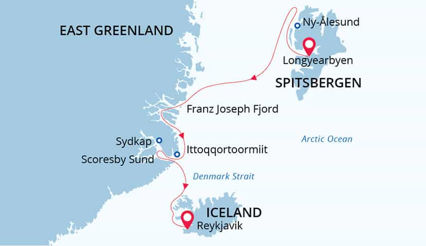 Arctic Odyssey route map from Svalbard to Iceland.