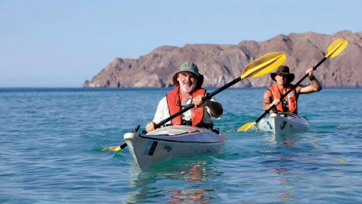 two men kayaking in baja california