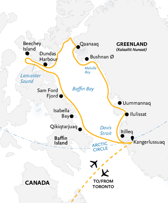 Best of the Western Arctic cruise route map.