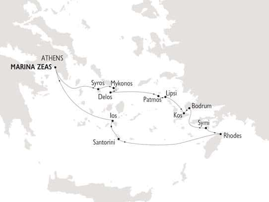 Grey tone map of Greece & Turkey cruise itinerary showing Marina Zea in Athens, Rhodes and Bodrum stops.