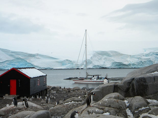 Research station in Antarctica with penguins walking on rocks and small ship in background.