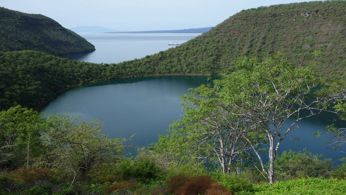Darwin crater lake on Isabela island with trees and Galapagos Islands in the background