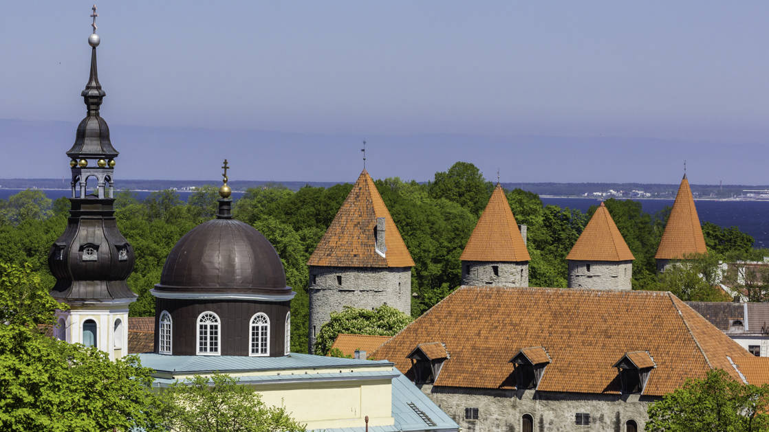 Aerial view of the walled part of Old Town in the capital city of Tallinn, Estonia