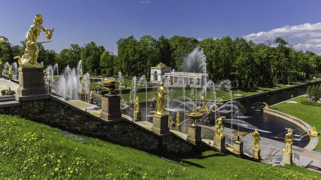 The Grand Cascade of fountains in the gardens behind Peterhof Palace in St Petersburg, Russia