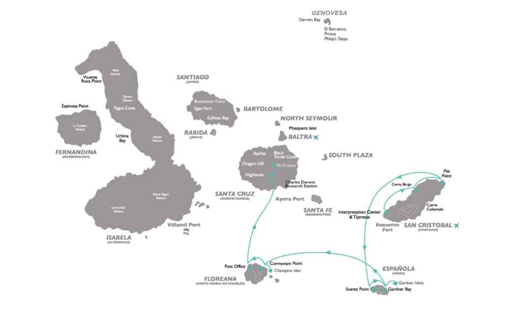 Galapagos cruise route map for 5-day Corals Southern Galapagos Cruise with visits to San Cristobal, Espanola, Floreana and the central island of Santa Cruz.
