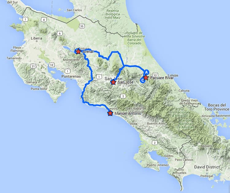 Costa Rica Explorer route map from San Jose, Costa Rica.