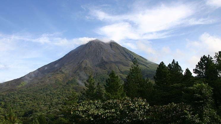 landscape with volcano on costa rica explorer land tour