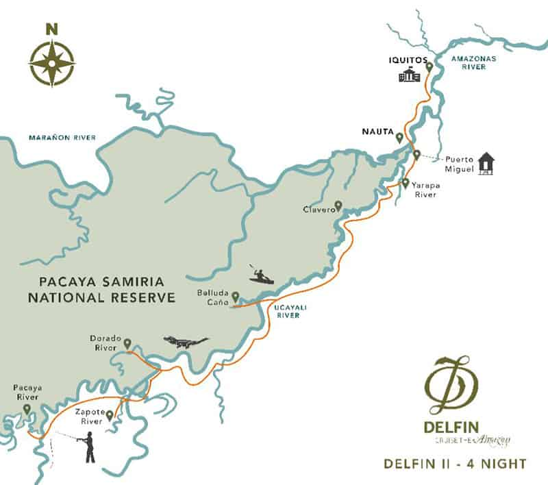 Route map of Delfin II 5-Day Low-Water Amazon River Cruise, operating round-trip from Iquitos, Peru, with visits to Belluda Cano Creek, the Dorado River, the Zapote River, the Pacaya River, Clavero Lake, the Yarapa River, Puerto Miguel & the Rescue & Rehabilitation Center of River Mammals.