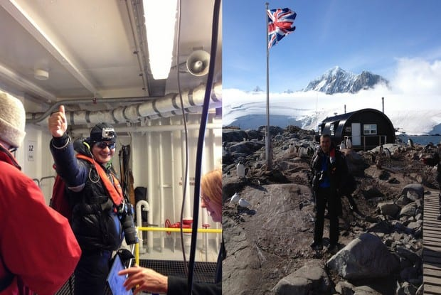 Man standing on a small ship cruise deck and man standing in front of research station in Antarctica.