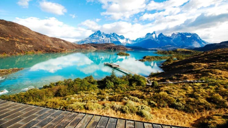 view of lake and landscape from hotel on explora patagonia land tour