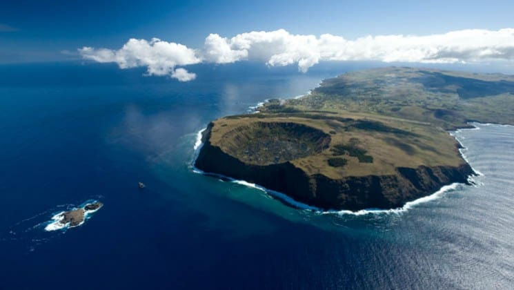 aerial view of easter island on explora rapa nui land tour