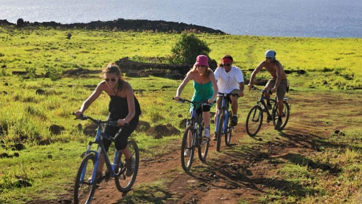 four bikers on easter island explora rapa nui land tour in chile