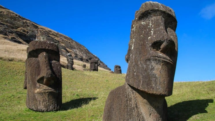 closeup of face on easter island statue on explora rapa nui land tour