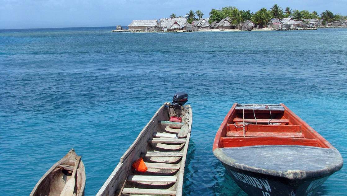 A canoe by a small island in Panama