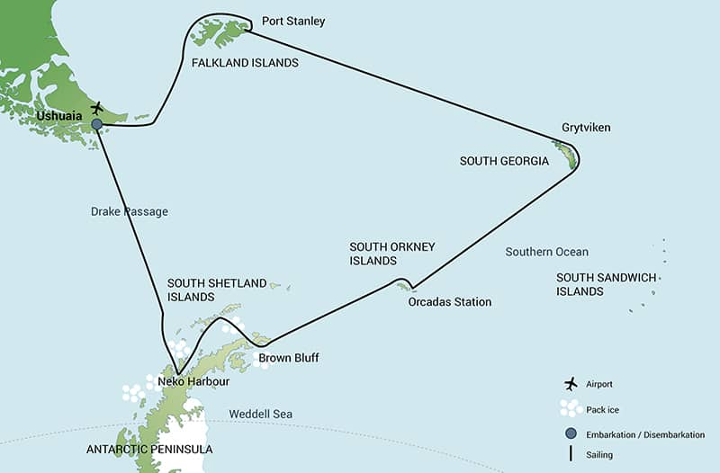 Route map of Falklands, South Georgia & Antarctica small ship cruise, operating roundtrip from Ushuaia, Argentina with stops at the Falkland Islands, South Georgia, the South Orkney Islands and the Antarctic Peninsula.