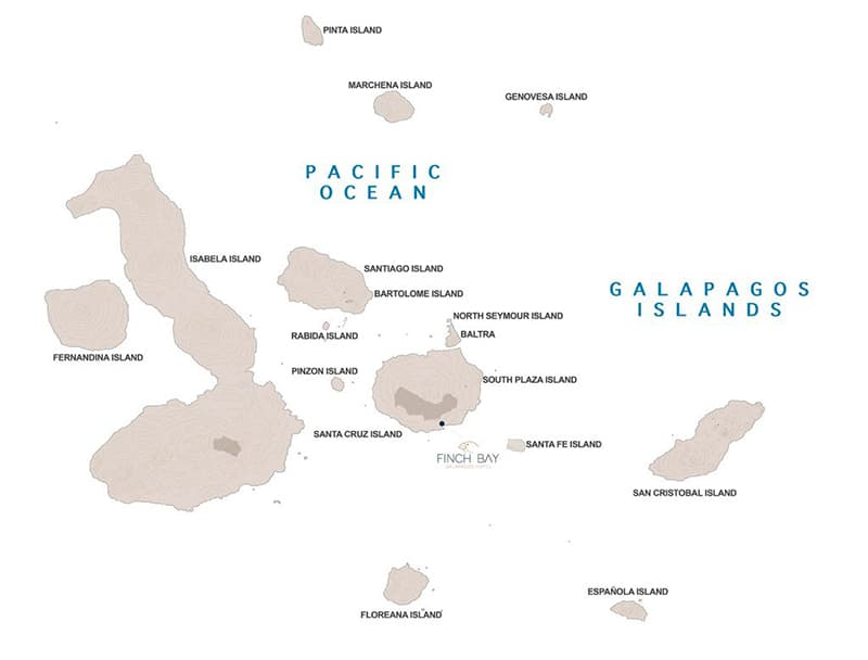 Galapagos Discovery route map with stays at Finch Bay Eco Hotel.