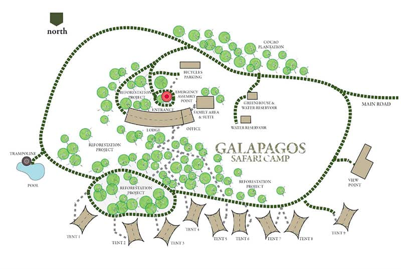 Map of Galapagos Safari Camp on Santa Cruz Island, showing a path connecting 9 luxury tents, 1 family suite, the lodge, trampoline, pool, bicycle parking area, greenhouse & water reservoir and the viewpoint.