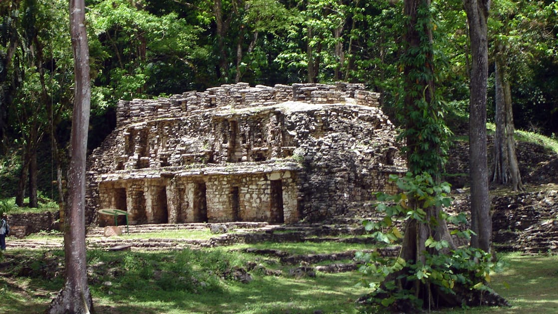 A Mayan ruin in Yaxchillan set in the jungle in Guatemala.