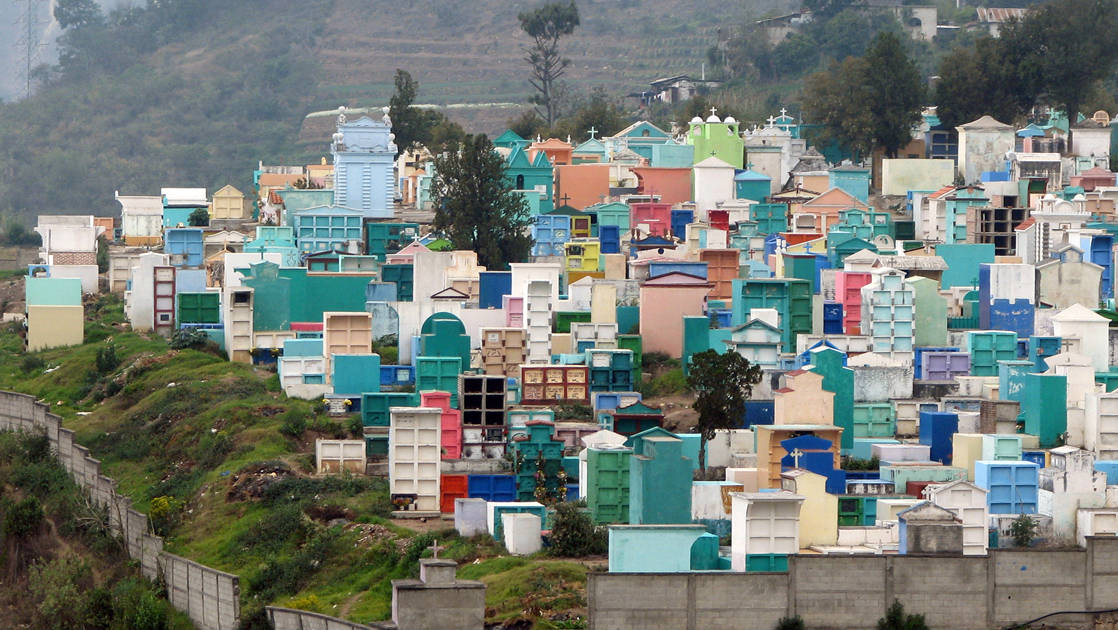 A color full cemetery on a hill in Guatemala.