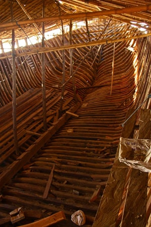 View of a skeleton of a boat in Indonesia.