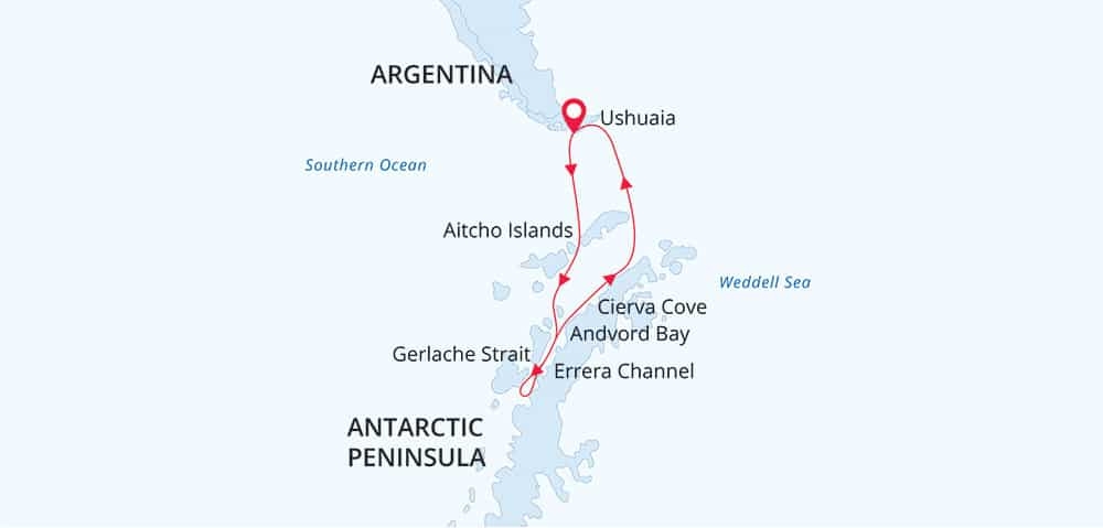 Land of Penguins and Icerbergs 11-day or 12-day itinerary map