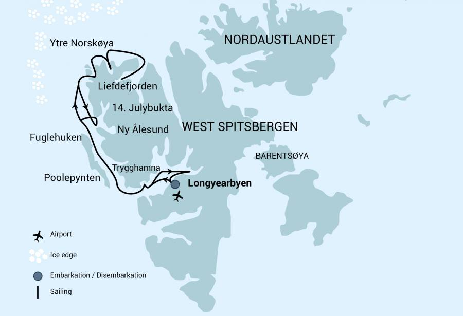 Route map of North Spitsbergen Arctic Summer small ship cruise, operating round-trip from Longyearbyen, Norway.