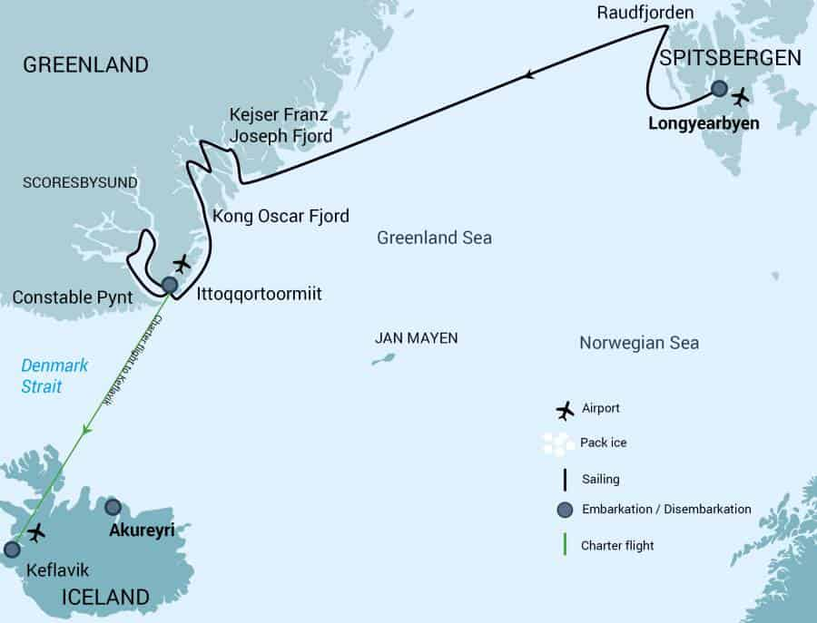 Route map of Spitsbergen Northeast Greenland Arctic cruise, operating from Longyearbyen, Norway, to Keflavik, Iceland.