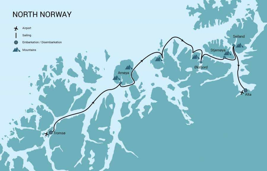 Route map of North Norway Aurora Borealis Ski & Sail Cruise, operating from Tromso to Alta, through the country's northern fjords.