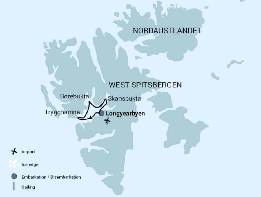 Route map of Isfjorden Adventure Late Arctic Autumn small ship cruise, operating round-trip from Longyearbyen, Norway.