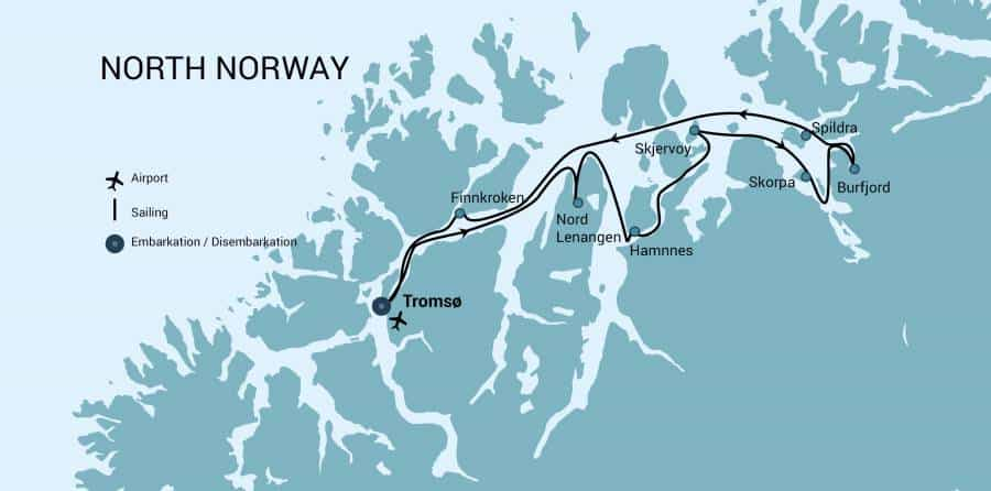 Route map of North Norway Aurora Borealis Hike & Sail Cruise, operating round-trip from Tromso, through the country's northern fjords.