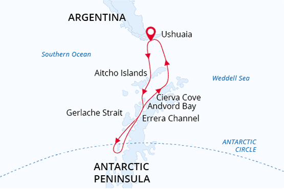 Route map of 15-day Land of Penguins & Icebergs Antarctica small ship expedition, operating round-trip from Ushuaia, Argentina with stops along the Antarctic Peninsula including a crossing of the Antarctic Circle at 66 degrees south latitude.