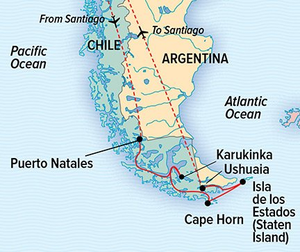 Chilean Fjords and Argentina's Staten Island cruise reverse route map.