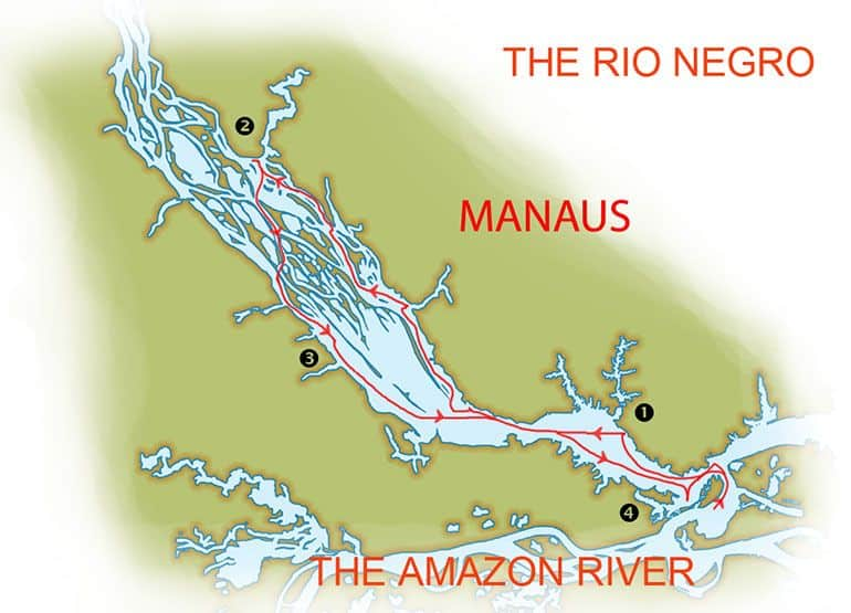 Amazon Odyssey Cruise in Brazilian Amazon 5-day route map from Manaus up the Rio Negro and Amazon River.