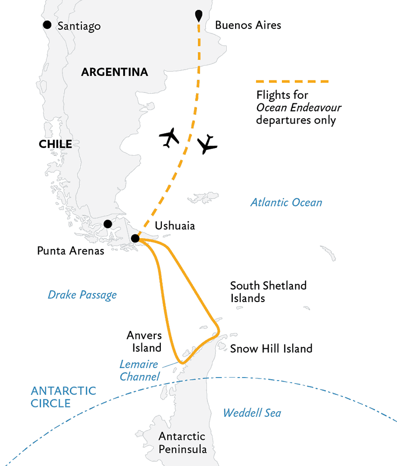 Route map of 11- or 12-day Antarctic Explorer small ship voyage on Ocean Endeavour, operating via round-trip flights between Buenos Aires and Ushuaia, Argentina, with stops along the Antarctic Peninsula.