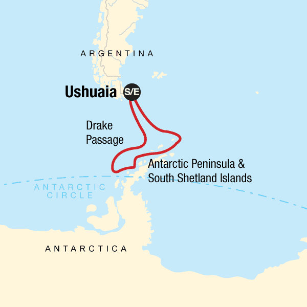 Route map of 13-day Antarctica Classic In-Depth Aboard Expedition small ship voyage, operating round-trip from Ushuaia, Argentina with stops along the Antarctic Peninsula & South Shetland Islands.