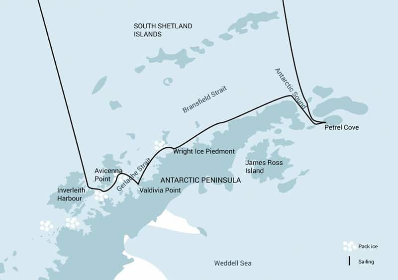 Route map of 11-day Antarctic Pioneering Voyage, operating round-trip from Ushuaia, Argentina with stops along the northern section of the Antarctic Peninsula.