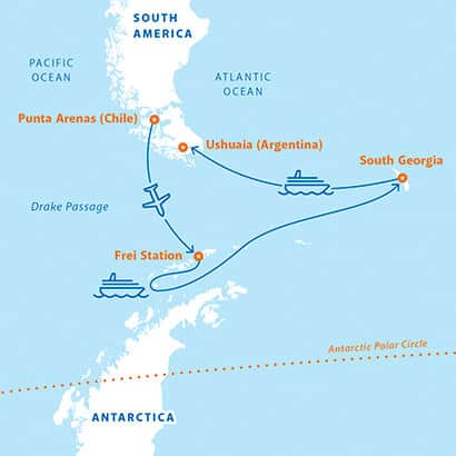 Route map of 16-day Antarctica & South Georgia Air Cruise, operating from Punta Arenas, Chile with a flight to King George Island and visits to the Antarctic Peninsula, Elephant Island and South Georgia before disembarking in Ushuaia, Argentina.