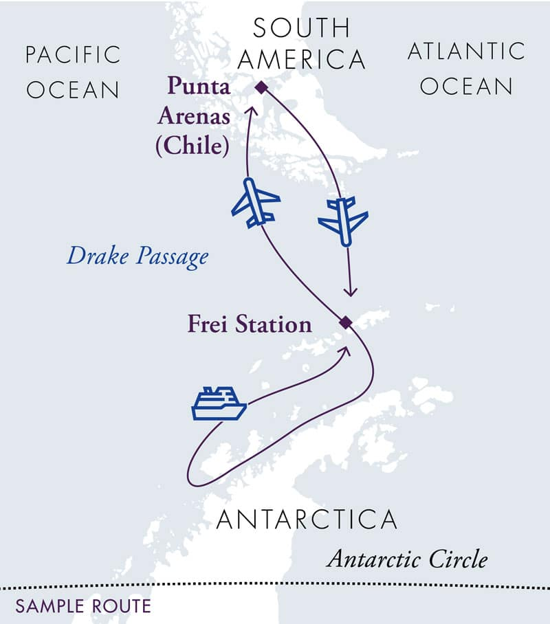 Route map of Antarctica Air Cruise, operating roundtrip from Punta Arenas, Chile, with a flights to and from King George Island and stops along the Antarctic Peninsula.