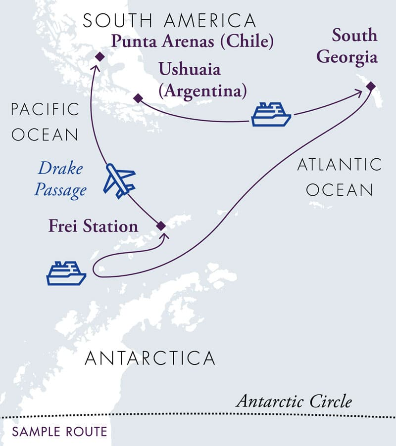 Route map of clockwise 17-day Antarctica & South Georgia Air Cruise, operating from Ushuaia, Argentina, with visits to South Georgia, Elephant Island & the Antarctic Peninsula, before ending with a flight from King George Island to Punta Arenas, Chile.