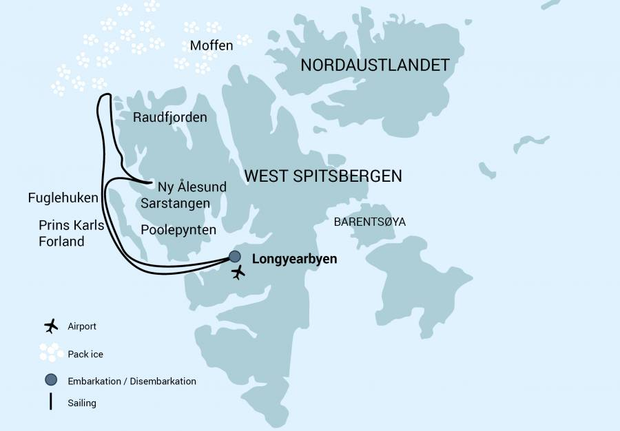 Route map of Early Season North Spitsbergen Arctic cruise, operating round-trip from Longyearbyen, Norway, with visits along western Svalbard.