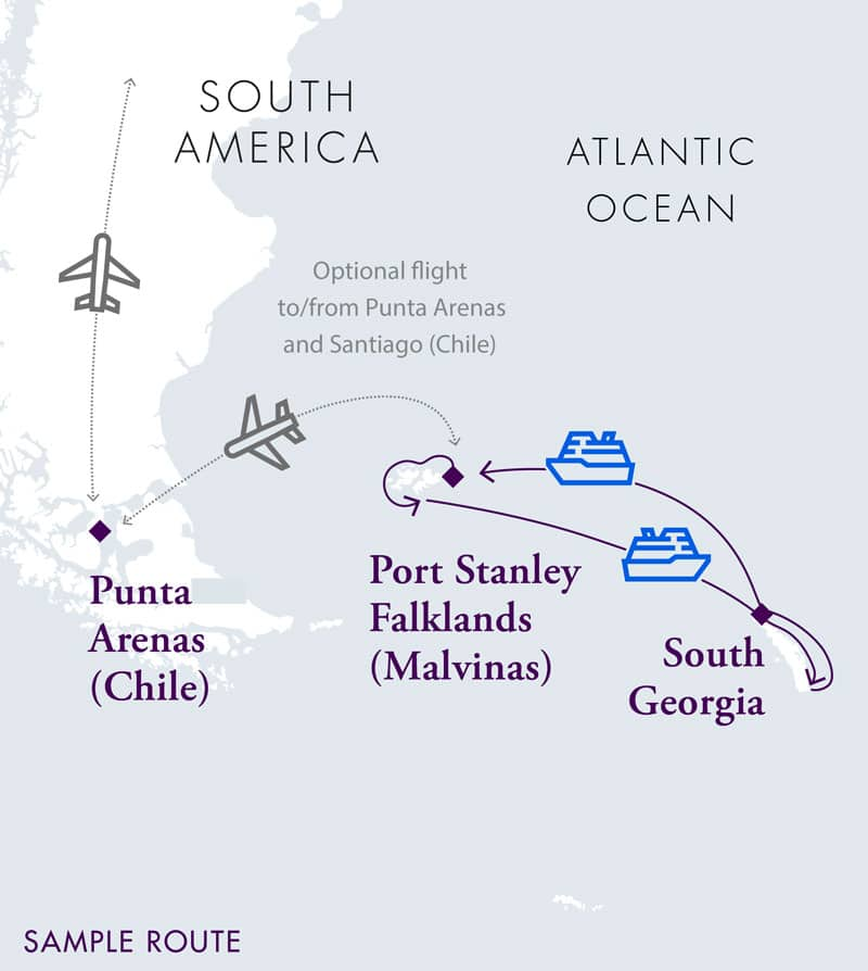 Route map of Falkland Islands & South Georgia Air Cruise, operating round-trip from Punta Arenas, Chile, with visits to Port Stanley, Saunders Island, New Island, Weddell Island, Bleaker Island, Elsehul Bay, Grytviken, Fortuna Bay, Gold Harbour, Cooper Bay, St Andrews Bay, Ocean Harbour, Prion Island & Salisbury Plain.