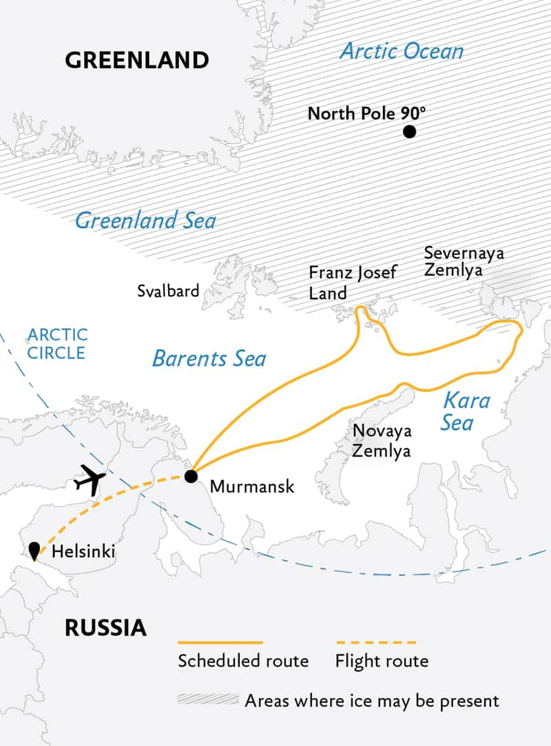 Route map of High Arctic Odyssey: Remote Russian Archipelagos expedition, operating round-trip from Helsinki, Finland, with visits to Murmansk, Russia, and several sites along the Siberian coast and Severnya Zemlya.