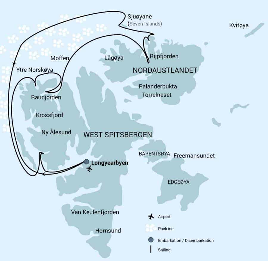 Route map of North Spitsbergen 82 Degrees North Arctic cruise, operating round-trip from Longyearbyen, Norway, with visits to northern and western Svalbard,