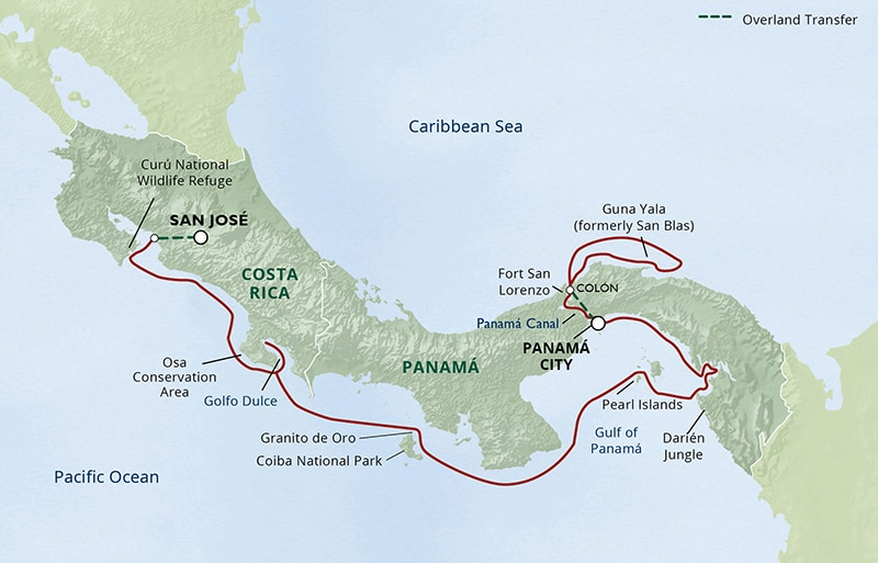 Route map of 13-day Pure Panama small ship cruise from Panama City to San Jose, Costa Rica with visits to the Guna Yala, Fort San Lorenzo, the Panama Canal, Darien Jungle, Pearl Islands, Granito de Oro, Coiba National Park, Golfo Dulce, Osa Conservation Area & Curu National Wildlife Refuge.