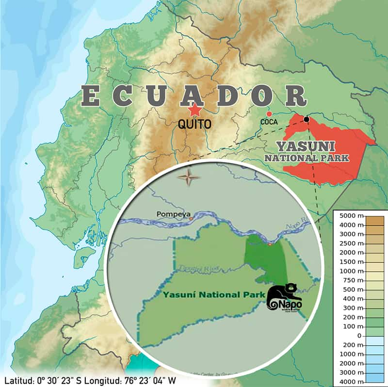 Map showing placement of the Napo Wildlife Center along the Napo River in the Yasuni National Park of Eastern Ecuador's Amazon rainforest basin.