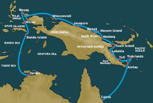 Route map of Frontier Lands of New Guinea Pacific Islands and Indonesia small ship cruise, visiting the northeast coast of Papua New Guinea islands of Samarai, Dobu, Fergusson, Trobriand, Fly, Tuam and Manam, and Indonesian islands of Mioswundi, Wayag, Kawe, Banda and various Spice Islands.