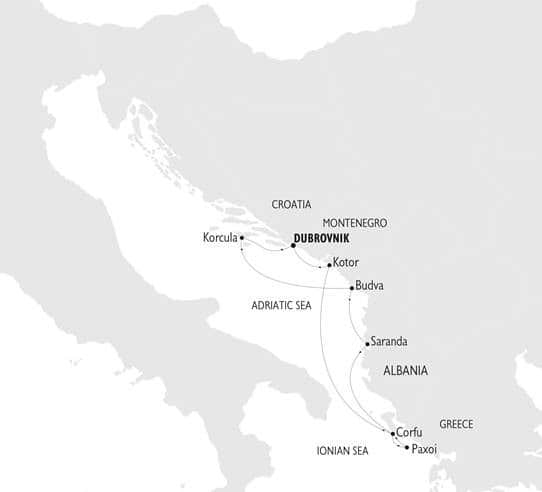 The Adriatic Odyssey cruise route map from Dubrovnik, Croatia.