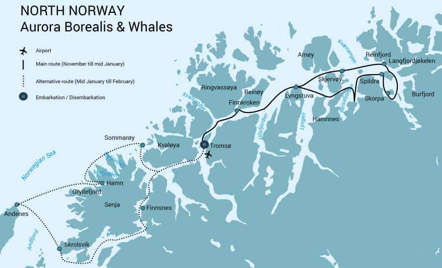 Route map in shades of blue showing the itinerary for North Norway Aurora Borealis cruise from Tromso.