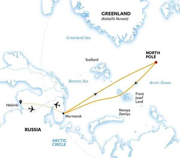 The North Pole cruise route map.