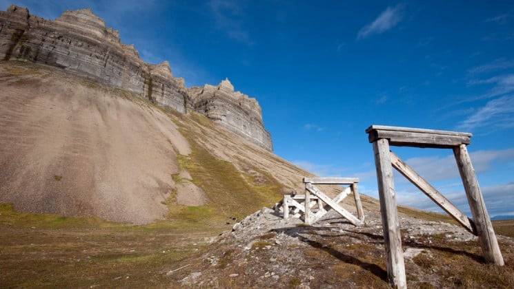 remains of mining operation in north spitsbergen, greenland